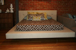 Platform Bed in Oatmeal Linen with Low Headboard